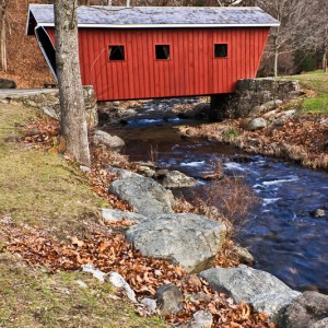 Covered bridge at Kent Falls State Park, Connecticut