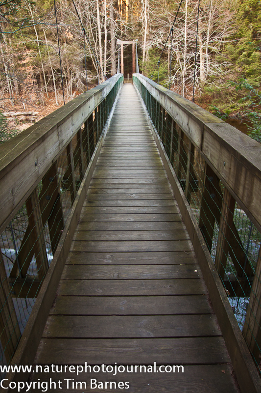 Suspension Bridge in Steep Rock Reservation, Connecticut