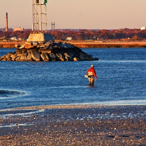 Fly Fisherman at Short Beach Park, Stratford, Connecticut