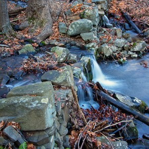 Stone Wall across Roaring Brook in Cheshire, Connecticut